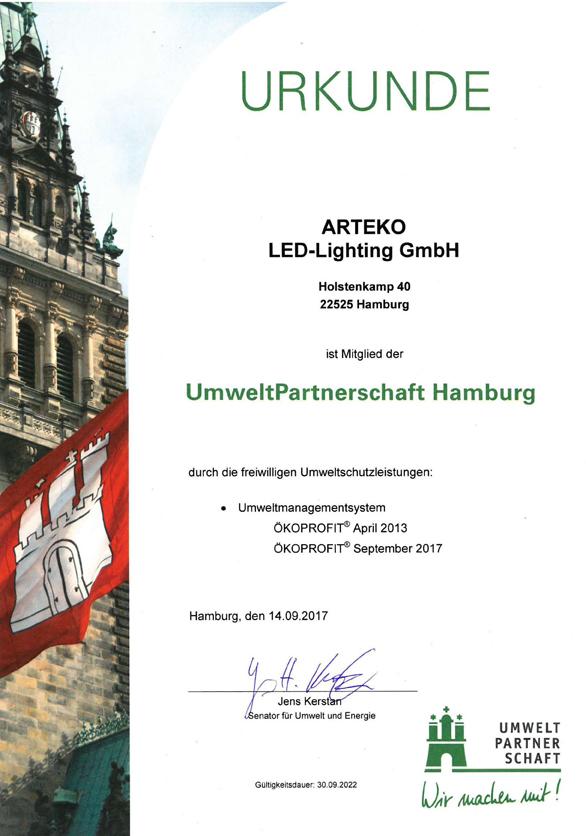Urkunde ARTEKO Umwelt Partnerschaft Hamburg